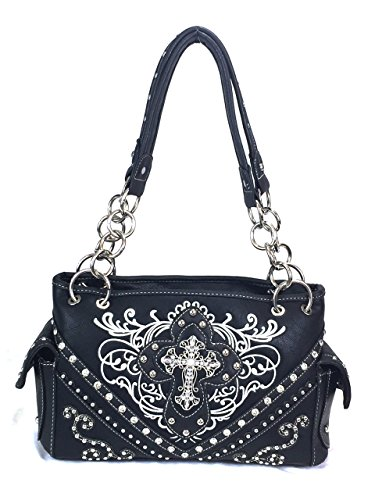 Zzfab Cross Embroidered Western Handbag Rhinestone Purse Black