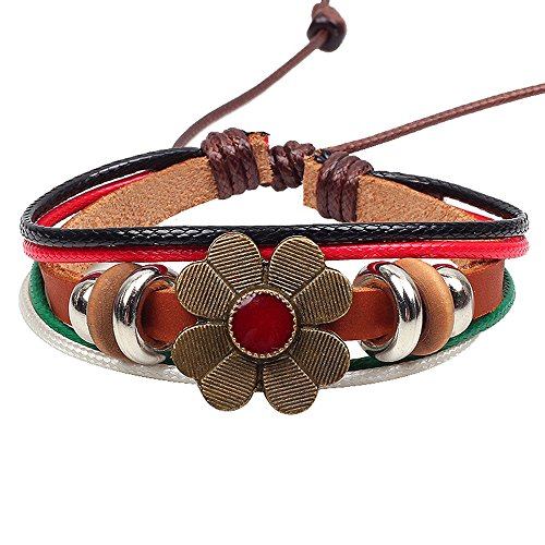 Winter's Secret Red Lucky Flower Ancient 4 Color Handmade Weaving Leather Wrist Bracelet (Pop Art Halloween Costume Couple)