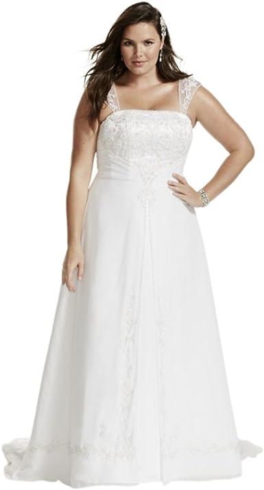 David\'s Bridal A-Line Plus Size Wedding Dress with Cap ...