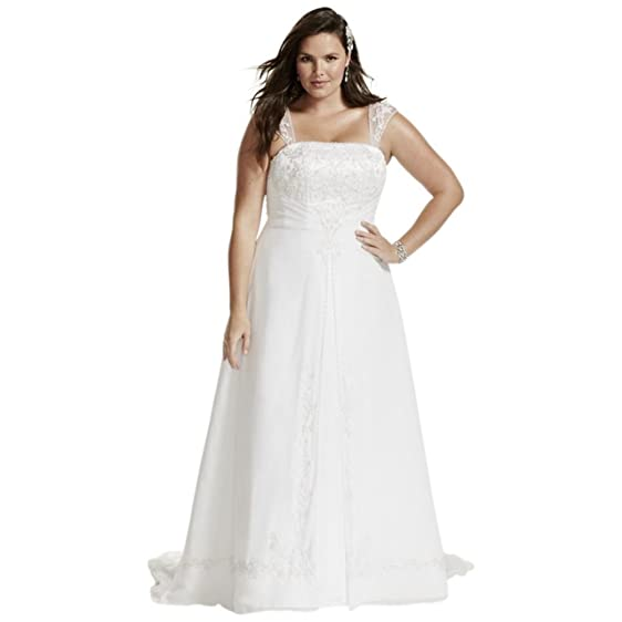A Line Plus Size Wedding Dress With Cap Sleeves Style 9V9010 White 14W