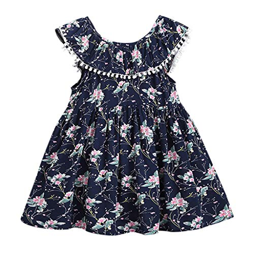 TEVEQ Kids Girls Dress Toddler Print Sleeveless Tassels Party Princess Dresses Clothes Navy -