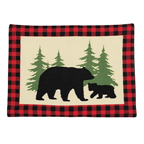 Collections Etc Rustic Cabin Bear Fleece Pillow Sham Set, Bear Silohettes with Red/Black Checkered Border, 2pc ()