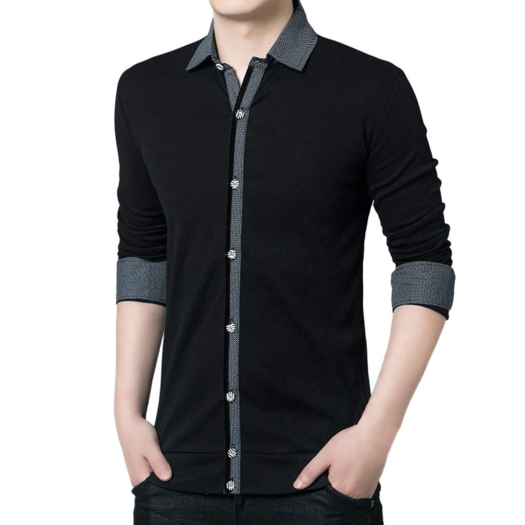 Men T Shirt T-Shirt, Men Button Shirt Business Long Sleeve Top Blouse Black Formal Top Party Wedding Shirt YOcheerful(Black,M) by YOcheerful (Image #2)