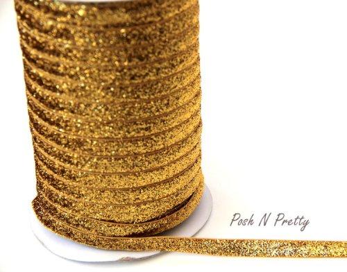 5-yards-3-8-glitter-stretch-velvet-elastic-metallic-no-flake-trim-gold
