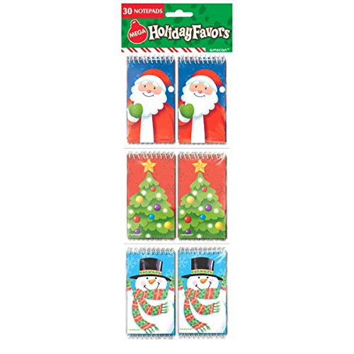 Christmas Notepad (Festive Christmas Notepad Set Party Favour, Paper, Pack of 30)