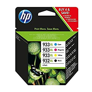 HP 932XL-933XL 4 Pack Set- Black and Color Inkjet Set 1 HP 932XL Black CB053AN