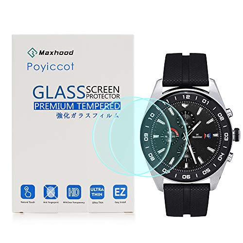 for LG Watch W7 Tempered Glass Screen Protector, Poyiccot 2Pack 9H Premium Hardness Tempered Glass Screen Protector 2.5…