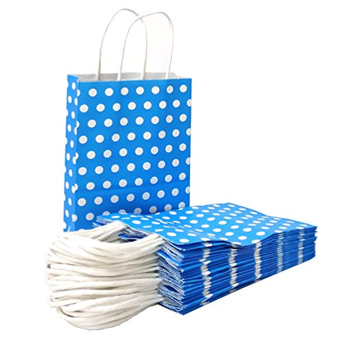 ADIDO EVA Paper Gift Bags Blue with White Dots Kraft Paper Bags with Handles Goodie Bags for Kid's Birthday Wedding Holiday Party Favor Bags(Blue 8.2 x 6 x 3.1 in ()