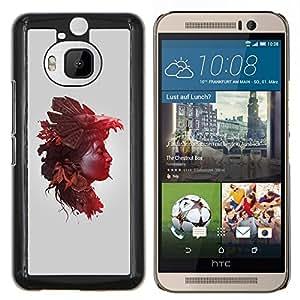 EJOOY---Cubierta de la caja de protección para la piel dura ** HTC One M9Plus M9+ M9 Plus ** --Mujer de la naturaleza Hojas de otoño
