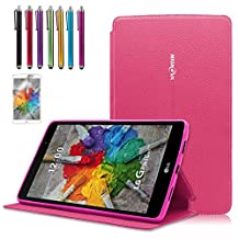 Mignova LG G Pad X 8.0/G Pad III 8.0 Case, Folio Premium Leather Cover For LG G Pad X 8.0 Tablet (T-Mobile V521WG)/G Pad III 8.0 V525 2016 Release + Screen Protector Film and Stylus Pen (2nd Pink)