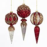 Kurt Adler GLASS RED, GOLD AND SILVER GLITTERED FINIAL ORNAMENT - 3 ASSORTED