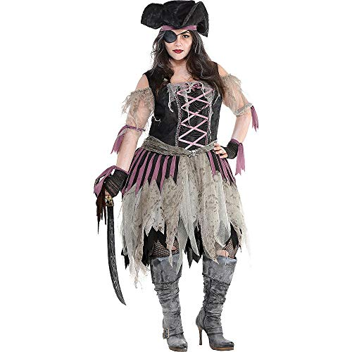 Amscan 848278 Adult Haunted Pirate Wench Costume, Black, Plus XX-Large (18-20)