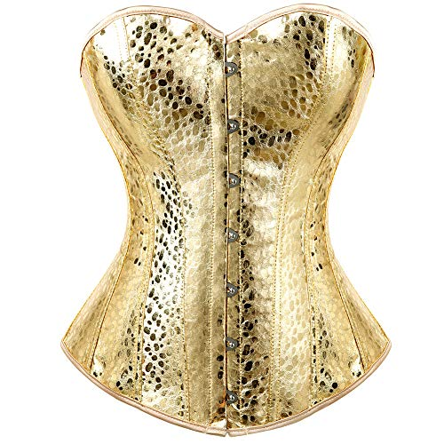 (Kranchungel Women's Punk Rock Faux Leather Corset Retro Goth Waist Cincher Basque Bustier 6X-Large Gold)