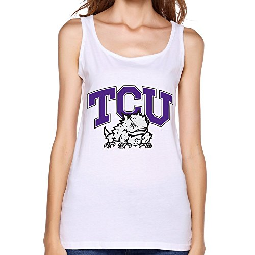 White Tcu Football Cool Tank Tops For Lady Size M