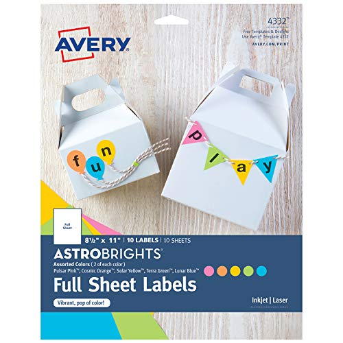 Avery Astrobrights Full-Sheet Label for Laser & Inkjet Printers, Assorted Colors, 8.5