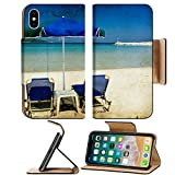 Liili Premium Apple iPhone X Flip Pu Leather Wallet Case Vintage photo of chairs and umbrellas on the beach 28209513