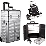 Sunrise I3566DMSL Silver Diamond Professional Rolling Aluminum Cosmetic Makeup French Door Opening Craft Storage Organizer Case with Large Drawers, Extendable Trays and Brush Holder