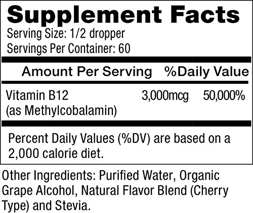 MAX ABSORPTION, Vitamin B12 Liquid Drops, Sublingual, Supports Energy, 3000mcg Methylcobalamin Per Serving, 60 Servings, Non GMO, Vegan Friendly, Made in USA