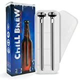 Beer Chiller Stick [2-Pack] with Washable Plastic Storage Case, Chill Brew Beer Chillers, Keeps Beer Cold Longer Than a Koozie
