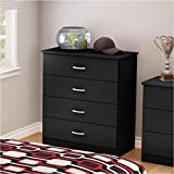Pemberly Row 4 Drawer Chest in Pure Black
