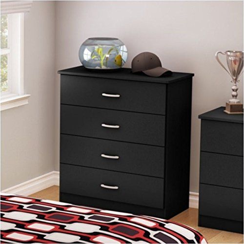 Pemberly Row 4 Drawer Chest in Pure Black by Pemberly Row