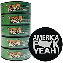 Hooch Herbal Snuff or Chew - 5 Can - Includes DC Skin Can Cover (Wintergreen Fine) (America Skin)