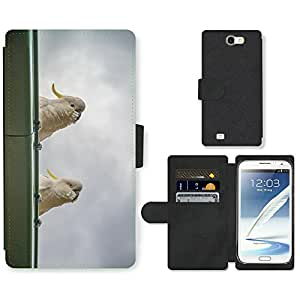 Super Stella Cell Phone Card Slot PU Leather Wallet Case // M00145480 Cockatoos Birds Parrots White // Samsung Galaxy Note 2 II N7100
