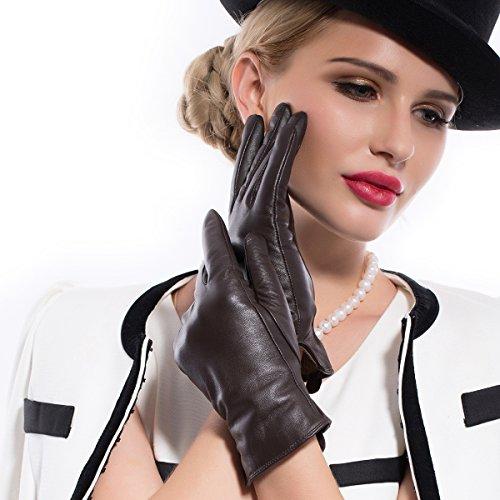 MATSU Women Winter Warm Touchscreen Texting Lambskin Driving Leather Gloves 7 Colors M9022