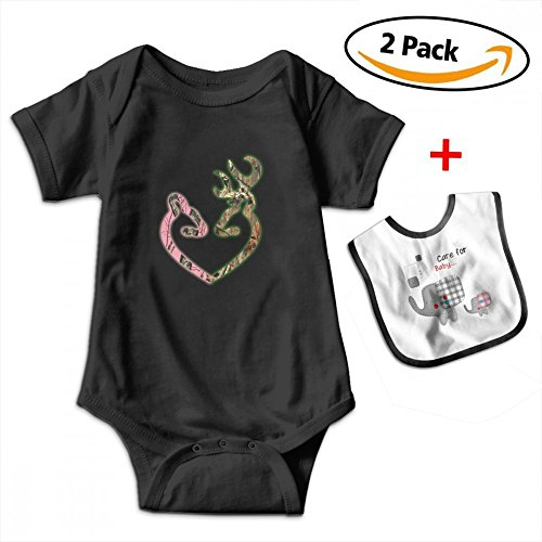 Leopoldson Couple Deer Head Camoflauge Heart Infant Short Sleeve Bodysuits Onesies with Baby Bib by Leopoldson