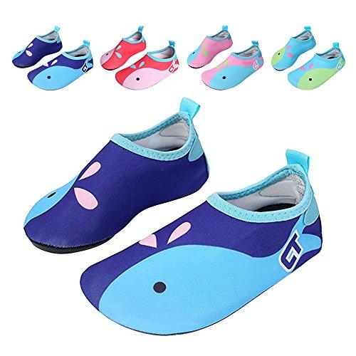 JACKSHIBO Männer Frauen und Kinder Quick-Dry Wasser Haut Schuhe Aqua Socken Für Wassersport Schwimmen Surf Yoga Exercise Beach Kinderblau