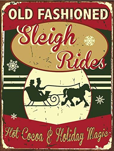 Old Fashioned Sleigh Rides Metal Sign, Hot Cocoa, Holiday Décor,