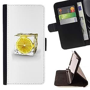 BullDog Case - FOR/Sony Xperia Z1 Compact D5503 / - / LEMON ICE CUBE /- Monedero de cuero de la PU Llevar cubierta de la caja con el ID Credit Card Slots Flip funda de cuer