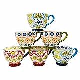 Mugs Artisan Painted Chic Stoneware 6-PC Hot Chocolate Tea Coffee 14oz Botanical