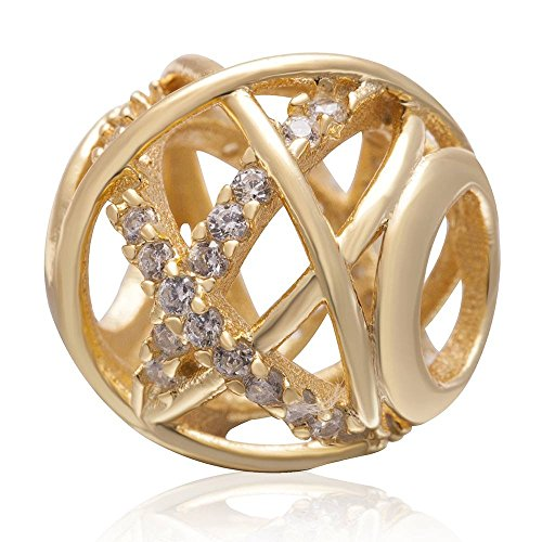 Soulbeads Gold Plated Galaxy Charm Authentic 925 Sterling Silver Openwork Charms with Clear CZ for European Bracelet