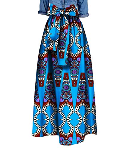 Comaba Women's Big Pendulum Bowtie Waist African Print Simple Long Skirt 3 4XL by Comaba