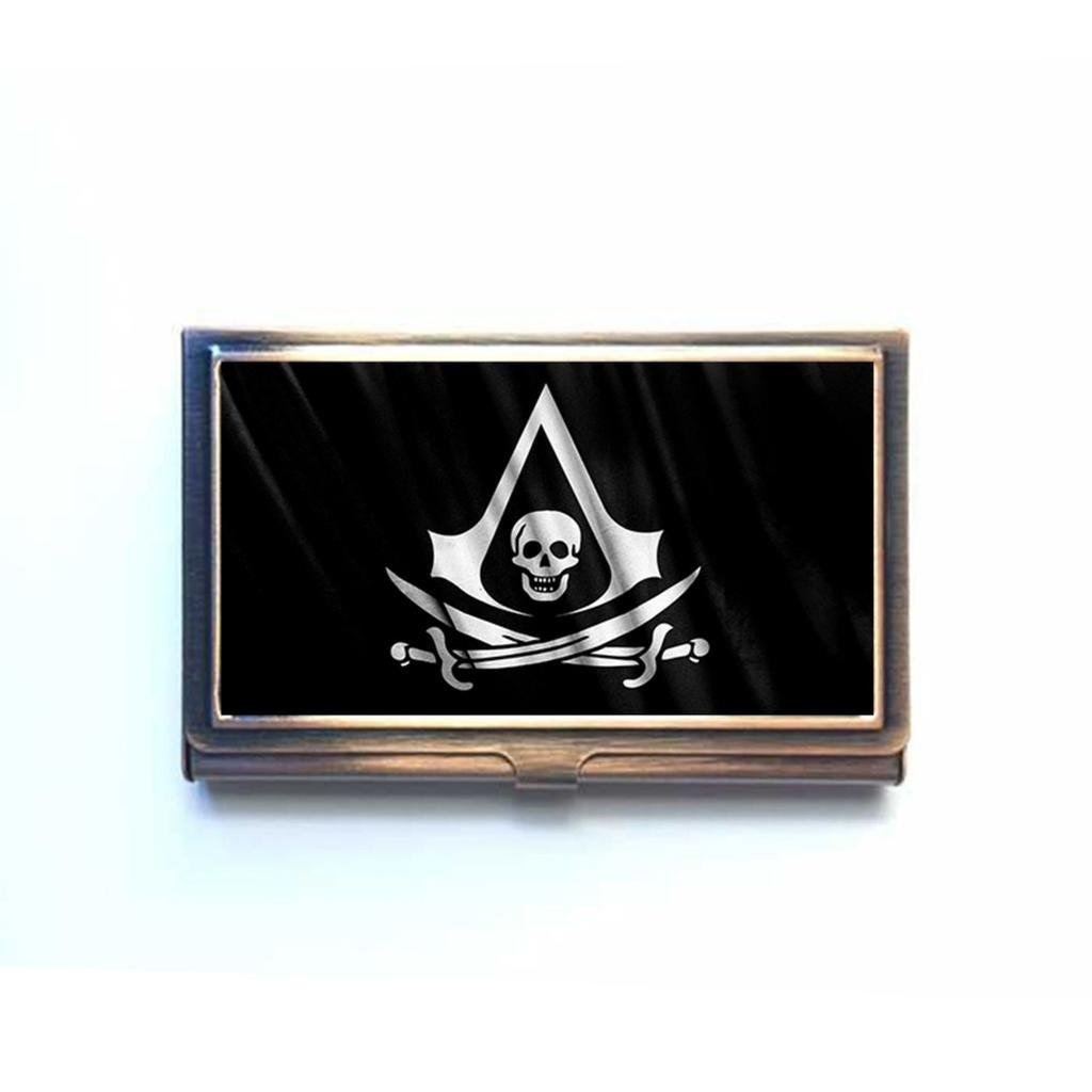 Assassins Black Creed Flag Pirate Custom Unique bronze Business name Card Case box Holder Lovely Gift