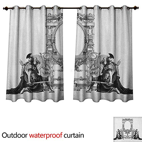Victorian 0utdoor Curtains for Patio Waterproof Victorian Frame with a Gladiator Warrior Roman Headpiece Ancient Design W72 x L72(183cm x 183cm)