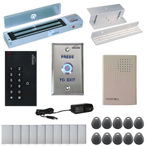 VSIONIS FPC-5327 One door Access Control Inswinging Door 600lbs Maglock with VIS-3002 Indoor use only Keypad / Reader Standalone no software EM Card Compatible 500 users kit by Visionis