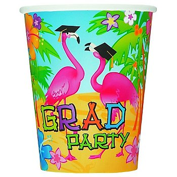 Grad Flamingos Graduation Party 9oz Cups (8 Count)