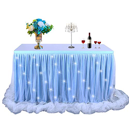LED Table Skirt 6ft Blue Tulle Table Skirt Tutu Table Cloth Skirting for Rectangle or Round Table for Baby Shower Wedding and Birthday Winter Party Decoration(6(ft) H30in)