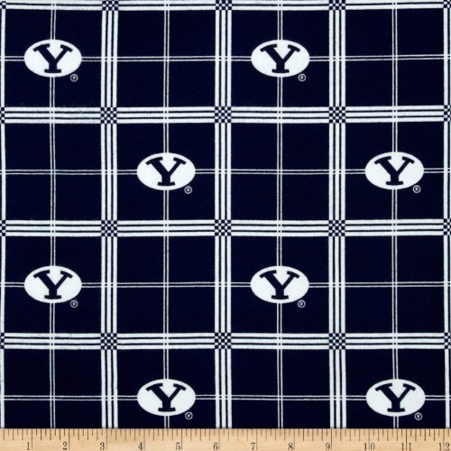 Sykel Enterprises Collegiate Cotton Flannel Brigham Young University Plaid Blue Fabric By The - Brigham Fabric University Young
