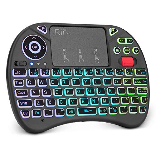Mini Keyboard,Rii X8 Portable 2.4GHz Mini Wireless Keyboard Controller with Touchpad Mouse Combo,8 Colors RGB Backlit,Rechargeable Li-ion Battery for Google Android TV Box, PS3, PC, Pad,Nvidia Shield