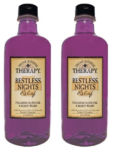 Village Naturals Therapy Restless Nights Relief Foaming Bath Oil and Body Wash, 16 fl oz (2 Bottles), Baby & Kids Zone