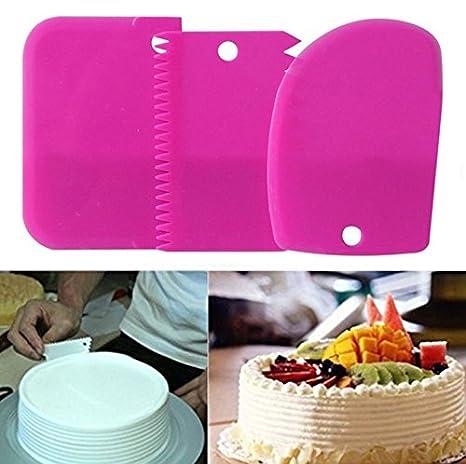 Cake Scraper 3pcs/Set, KOOTIPS Smoother Comb Set Cake Edge Side Decorating Tools Scraper (Pink 3pcs Set) Kootips-1-101
