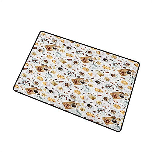 Doggie Bagels - Wang Hai Chuan Modern Welcome Door mat Lunch Table with Croissant Bagels Coffee Cheese Chocolate Watercolor Artwork Door mat is odorless and Durable W31.5 x L47.2 Inch Sand Brown White