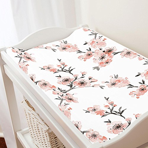 Blossom One Light - Carousel Designs Light Coral Cherry Blossom Changing Pad Cover - Organic 100% Cotton Change Pad Cover - Made in The USA