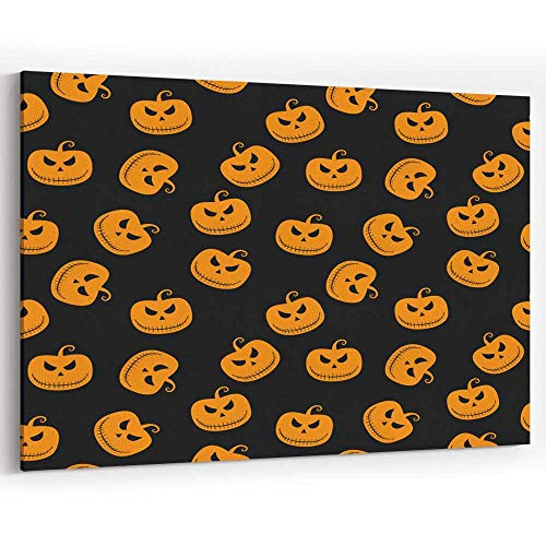 Halloween Seamless Pattern with Scary Stare Pumpkin on Black Background Canvas Art Wall -