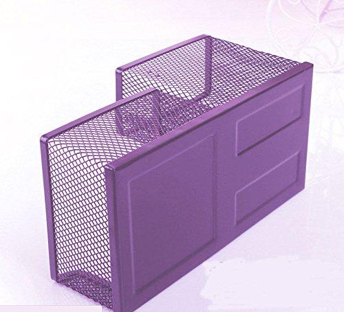 Hot Metal Mesh Desk Organizer Storage Box Desktop Pen Holder for Office (Purple)