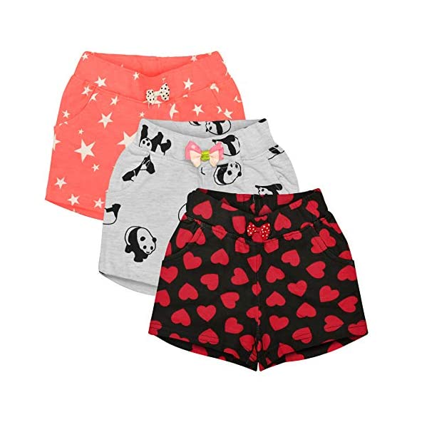 Aatu Kutty Girl's Relaxed Fit Shorts (Pack of 3)