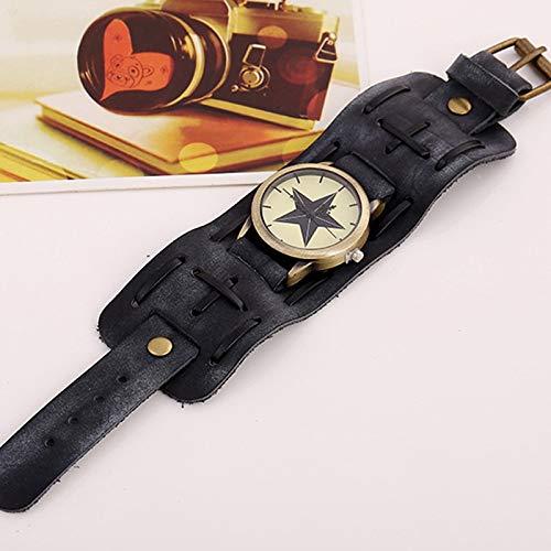 Color : Black Aertha Vintage Uhren Punk Rock Rindsleder Legierung Armband Quarz Analoguhr Big Wide Lederarmband Manschette Punk Rock Armband Cool